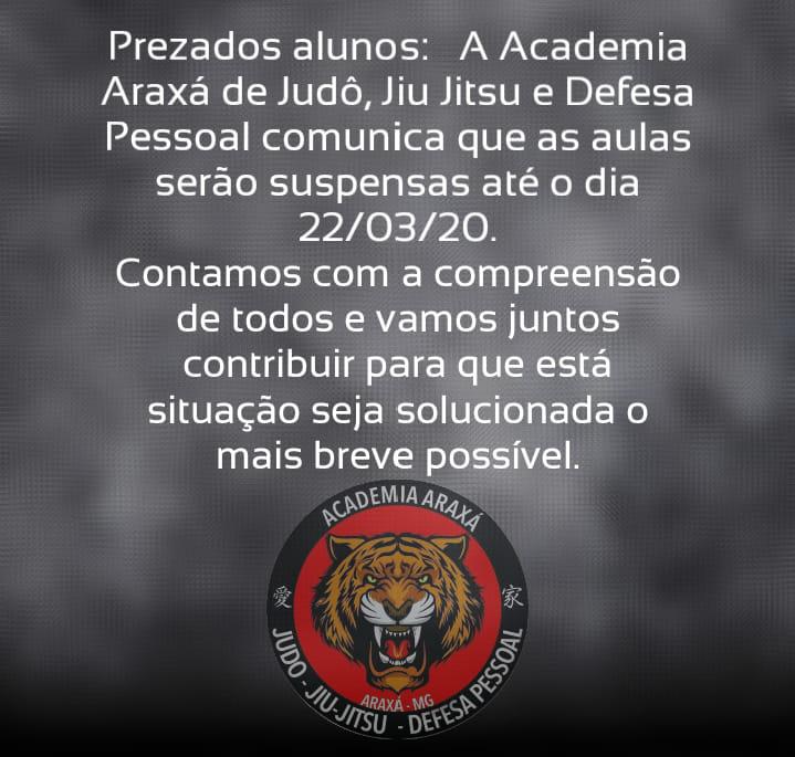 Academia Araxá de Judô, Jiu-Jítsu e Defesa Pessoal suspende atividades devido ao coronavírus